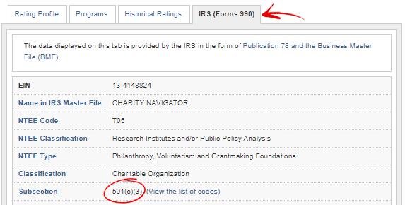 501c3 status circled on Star Rating System