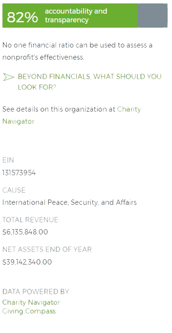 Screenshot showing Giving Compass presenting Charity Navigator data